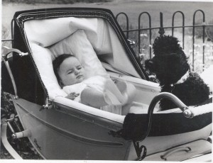 Peter Bently in his pram with a poodle